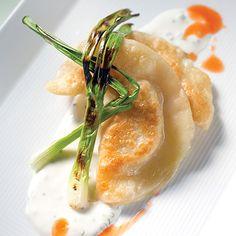 Crawfish Pierogies With Grilled Spring Onions - Louisiana Cookin Crawfish Recipes, Cajun Recipes, Seafood Recipes, New Recipes, Snack Recipes, Potato Recipes, Kim's Kitchen, Louisiana Recipes, Southern Recipes
