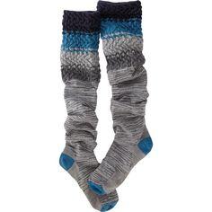 Smartwool Snowy Owl Knee Sock (37 CAD) ❤ liked on Polyvore featuring intimates, hosiery, socks, blue, scrunch socks, chevron knee socks, knee hi socks, smartwool socks and owl socks