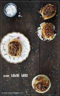 Sticky Tahini Buns - this recipe looks awesome and gives something to do with tahini other than hummus.