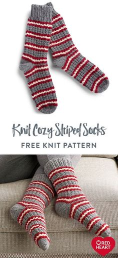 Free Knit Cozy Striped Socks pattern using Red Heart Super Saver yarn. Keep your feet warm with hand-knit socks in modern stripes. This is the perfect solution for hard-to-buy-for people on your gift list! Choose holiday hues, pastels, more subdued colors or even their favorite team colors. #Yarnspirations #FreeKnitPattern #KnitSocks #StripedSocks #RedHeartYarn #RedHeartSuperSaver