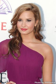 Love everything about this look. Hair.make up and color of the dress