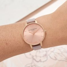 02a839340d0 Ladies Big Dial Grey Lilac and Rose Gold Watch