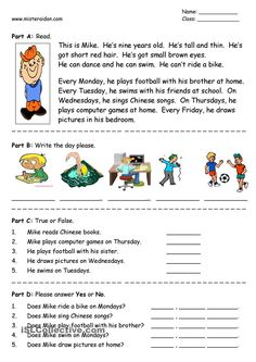 Days of the Week - easy reading comprehension