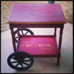 This popcorn cart is so adorable. I want one. This girl is amazing.