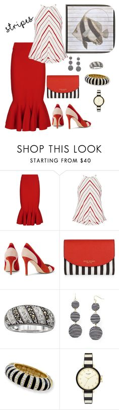 """""""All Lined Up☰☰☷"""" by parnett ❤ liked on Polyvore featuring Jonathan Simkhai, Exclusive for Intermix, Henri Bendel, BaubleBar, Kenneth Jay Lane and Kate Spade"""