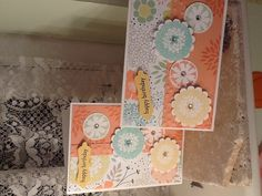 Using my new Stampin' Up! Sale-a-bration goodies. Petal parade stamp set, decorative dots embossing folder and the gorgeous new sweet sorbet designer paper. Maria Banting