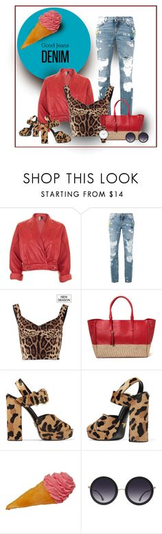 """""""Yummy"""" by michelletheaflack ❤ liked on Polyvore featuring Topshop, Dolce&Gabbana, Prada, Alice + Olivia, Larsson & Jennings, distresseddenim, polyvorecontests and styleinsider"""