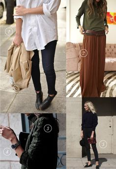 things i want: oversized white shirt, long whisky earth toned skirt, chunky cable knit sweaters, watch, skinny black pants