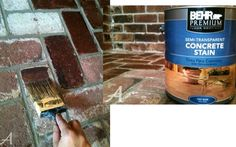 "HOW TO STAIN BRICK: ""...sometimes with age and/or natural staining, a brick surface needs a little refresher... used semi-transparent concrete stain to give her corner fireplace nook a transformation resulting in a more monotone look.  There are different color stains to choose from and it's a fairly easy and inexpensive project with a real WOW-RESULT!- from sasinteriors"