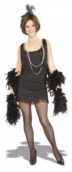 Strój karnawałowy dla kobiety Flapper w kolorze czarnym. Doskonały na imprezę w stylu lat XX-tych.