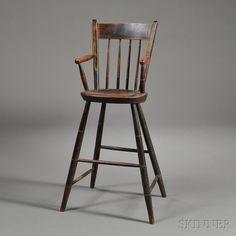 New England, c. 1820-30 Primitive Furniture, Primitive Antiques, Antique Furniture, Colonial Cottage, Dutch Colonial, Antique High Chairs, Farmhouse Renovation, Settees, Traditional Furniture