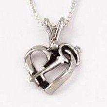 """Necklace-Heart & Key/Wedlock W/18"""" Chain (Sterling"""