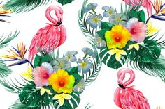 Flamingos,tropical flowers pattern  @creativework247
