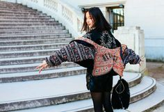 Xiao Wen Ju in a Babyghost coat . Street Style: Paris Fashion Week Fall 2015 - Vogue