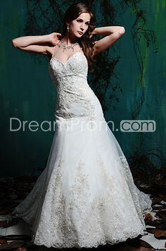 Pretty A-line Sweetheart Floor-length Chapel Appliques Wedding Dresses WG2363