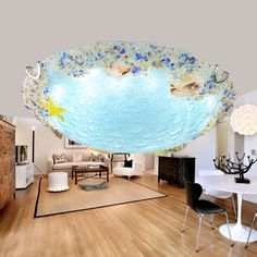 Children lamp Shell Ceiling Lamps Bedroom Balcony Corridor Kids Room Creative Ocean Fish Shells glass LED ceiling lights ZA #Affiliate