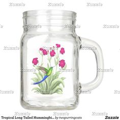 Tropical Long Tailed Hummingbird Mason Jar
