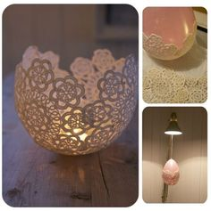 Diy doily candle holder,,, I would like one or 2 as holders for small items on my desk.