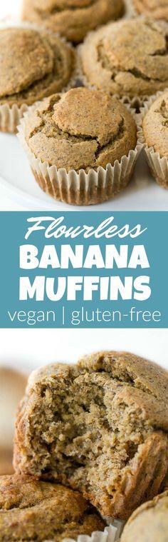 Flourless Vegan Banana Muffins | runningwithspoons.com