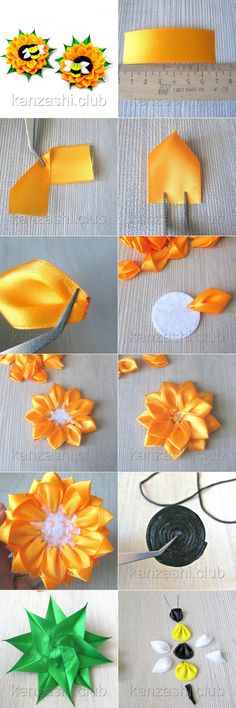 Embroidery Hair Bows Tutorials 57 Ideas For 2019 Satin Ribbon Flowers, Cloth Flowers, Ribbon Art, Diy Ribbon, Fabric Ribbon, Ribbon Crafts, Flower Crafts, Fabric Flowers, Fabric Crafts