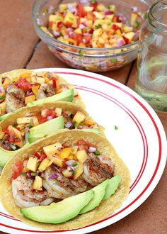 Grilled Shrimp Tacos with Fresh Peach Salsa Recipe on Yummly. @yummly #recipe