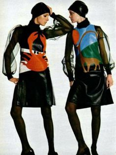 Pierre Cardin leather zodiac dresses