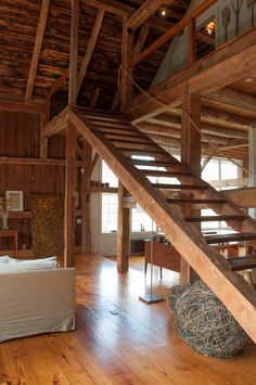 This may look dangerous, but only if you have no children or elderly that ever visit or are living in the home. Single guy retreat. A Rural 1800s Barn Becomes a Modern Home | Design*Sponge