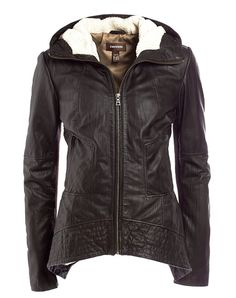 Danier soft crinkle lamb leather bomber jacket features a modern curved hem detail and a faux sheepskin lined hood