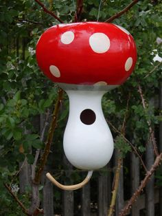 Red and White Polka Dot Mushroom Gourd by TheTrugandTrowel on Etsy