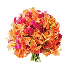 Whether you're getting married in a tropical locale or channeling island style at your stateside venue, Gloriosa lilies in sunset shades make for a bold wedding bouquet. Gloriosa Lily Wedding Bouquet, Flower Bouquet Wedding, Bridesmaid Bouquet, Bridal Bouquets, Wedding Flower Photos, Wedding Ideas, Orange Wedding Invitations, Marie, Lilies
