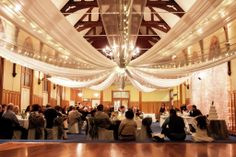 Steven and Theresa's wedding - The Chapel, beautiful under fairy lit canopy by A Touch of Elegance - Mission Estate Winery HAWKES BAY Places To Get Married, Got Married, Wedding Ceiling, Canopy Lights, Beautiful Wedding Venues, Canopies, Fairy Lights, Real Weddings, Tables