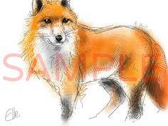 Impression de renard / / impression A3 renard / / grand renard peinture / / fantastic mr fox / / britannique art animalier / / britannique la faune décor / / fox art