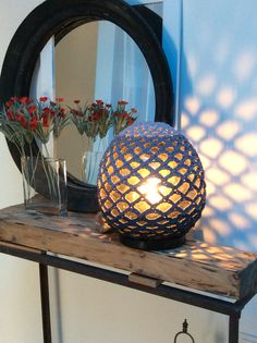 Crocheted net lampshade ombré