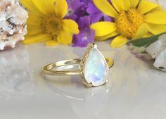 20% off-SALE Rainbow Moonstone Ring Genuine by HolyLandJewelry
