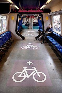 Bike-friendly train cars, Denmark. Click image for link to full profile and visit the slowottawa.ca boards >> http://www.pinterest.com/slowottawa/