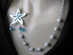 Nautical Necklace Aquamarine Starfish by EileenHeneghanStout,