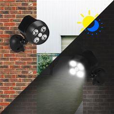 6W Waterproof Solar Powered PIR Motion Sensor Light Outdoor Security Wall Spotlight