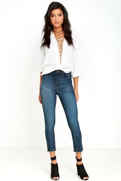 Covert Mission Dark Wash High-Waisted Cropped Skinny Jeans Even when you're…