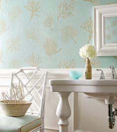 Coastal Chic WallpaperBathroom Wallpaper TexturedVinyl WallpaperAqua