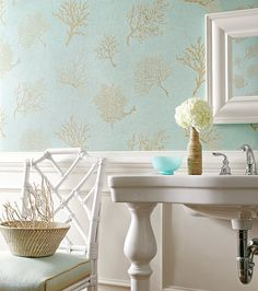 Coral Gables textured vinyl wallpaper  in Aqua from Texture Resource Volume 3 by #Thibaut    durable vinyl is perfect for messy bathrooms!