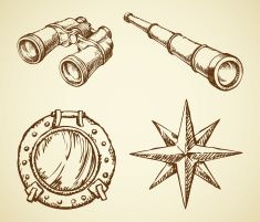 Vector drawing of binoculars, telescope, window, wind rose vector art illustration