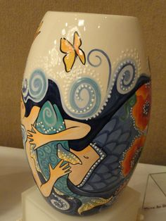 ocean goddess vase painted by Gayle DuRivage 2010