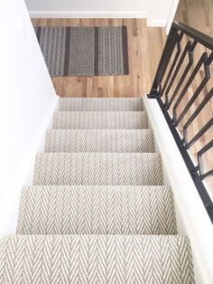 carpet for stairs pretty painted stairs ideas to inspire your home carpet stairs Stairway Carpet, Hallway Carpet, Bedroom Carpet, Carpet Runner On Stairs, How To Carpet Stairs, Striped Carpet Stairs, Staircase Runner, Runners For Stairs, Stairs Landing Carpet