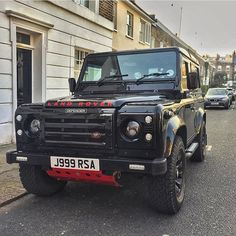 Looks great with Red Lettering on Black Defender #lrimports #landroverdefender by lr.imports Looks great with Red Lettering on Black Defender #lrimports #landroverdefender