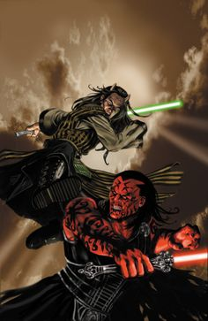 Star Wars: Darth Stryfe vs Wolf- Sazen. Art by Jan Duursema.