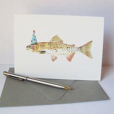 Trout Birthday Card.  Birthday Card for Dad.. $5.25, via Etsy.