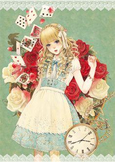 """Alice"" by azsan, found via tumblr haruchonns. Wonderland, white rabbit, anime, illustration."