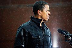 President Barack Obama....while speaking in pouring rain