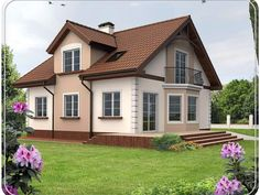 фасады домов с красной крышей декоративная отделка - Поиск в Google