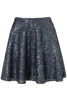 Pailletten! Blue Swquin Skater Full Skirt. Auf Topshop kombiniert mit Space Shirt
